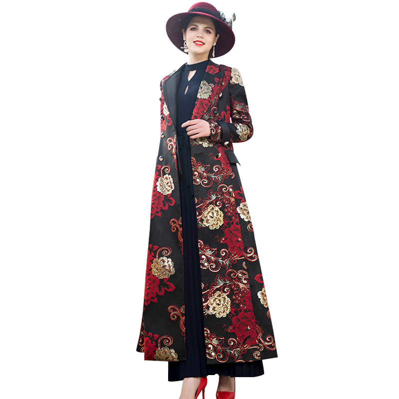 Spring Autumn Embroidery Floral X-Long Coat Plus Size Luxury Runway   Trench   Women Double Breasted Outwear Coat DZ2078