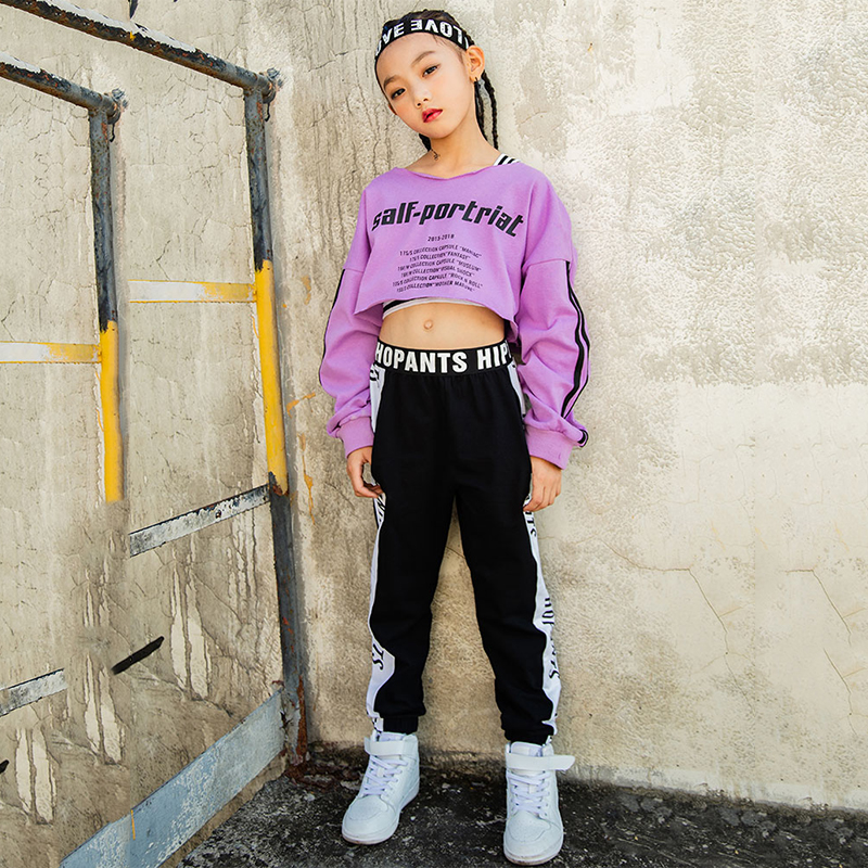 Girls Jazz Costume Purple Blouse Black Pants Hiphop Kids Street Dancing Clothes Childrens Dance Costumes Stage Show Wear DN2598