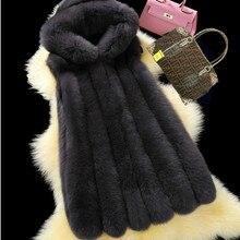 S-3XL размера плюс зимний теплый искусственный Лисий мех толстый Женский Повседневный длинный жилет женский открытый стежок кардиган с капюшоном