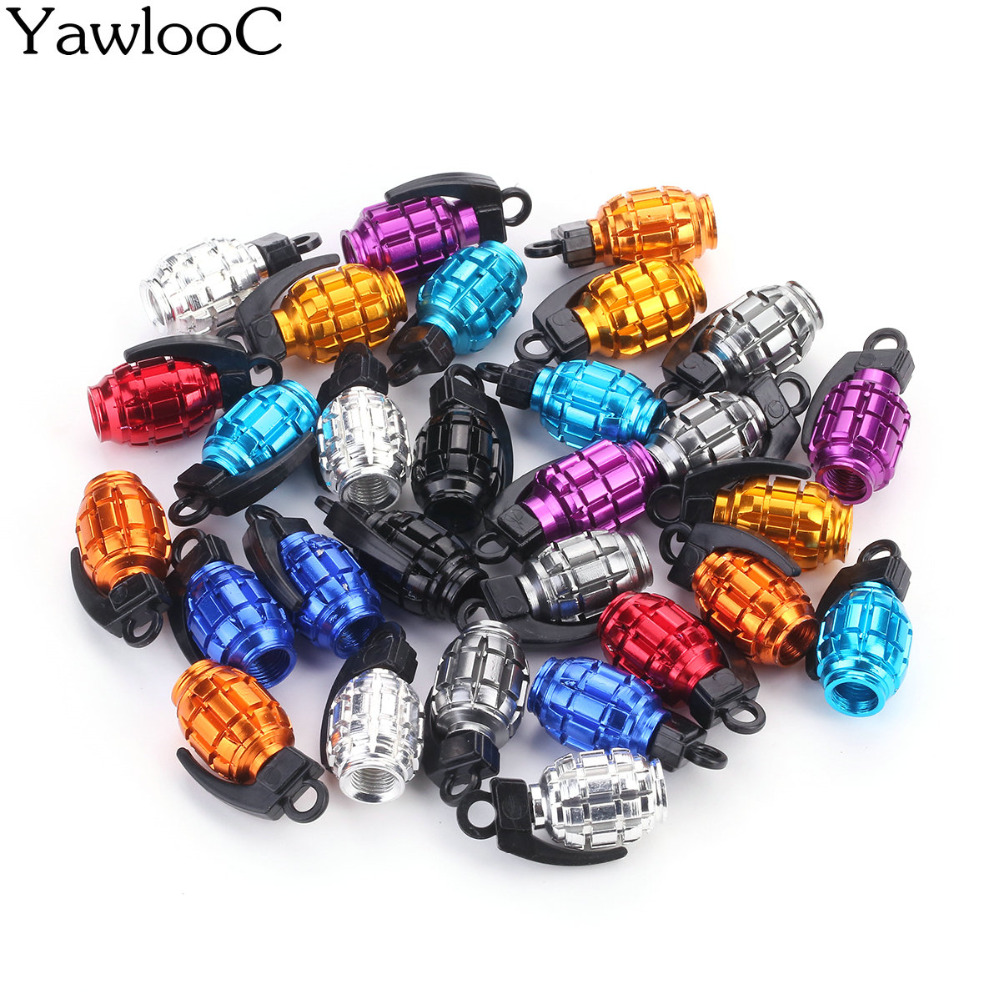 4Pcs/Lot Car Truck Motorcycle Accessories Bike Valve Cap Grenade Design Aluminum Alloy Car Tire Wheel Valve Stem Caps