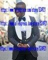 Nuevo Mens de la Llegada Trajes Padrinos de Boda Mantón Blanco Solapa Del Novio Esmoquin Negro Mejor boda del Juego del Hombre (Jacket + Pants + + Vest + Tie) C61