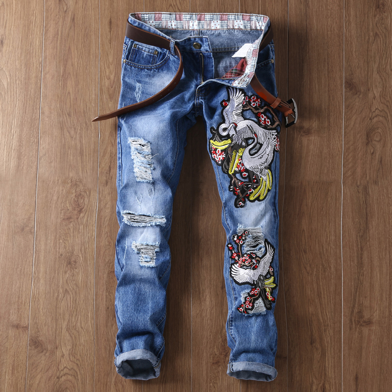 цены  Brand Designer Mens Embroidered jeans Pants Fashion Painted Denim Joggers For Male Slim Fit Straight Jean Trousers Ink Splash