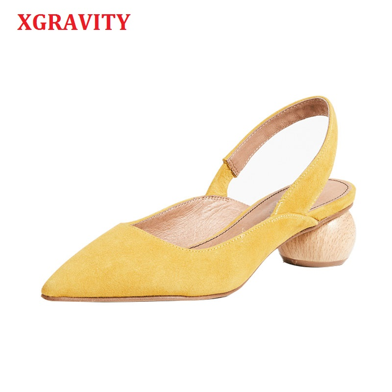 XGRAVITY 2019 European All Matched New Fashion Pointed Toe Dress Shoe Ladies Summer Women High Heel