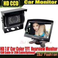 Лидер продаж 18 ИК Обратный Камера + Новый 7 ЖК дисплей монитор + вид сзади автомобиля автомобильный комплект Камера шины и грузовик датчик па