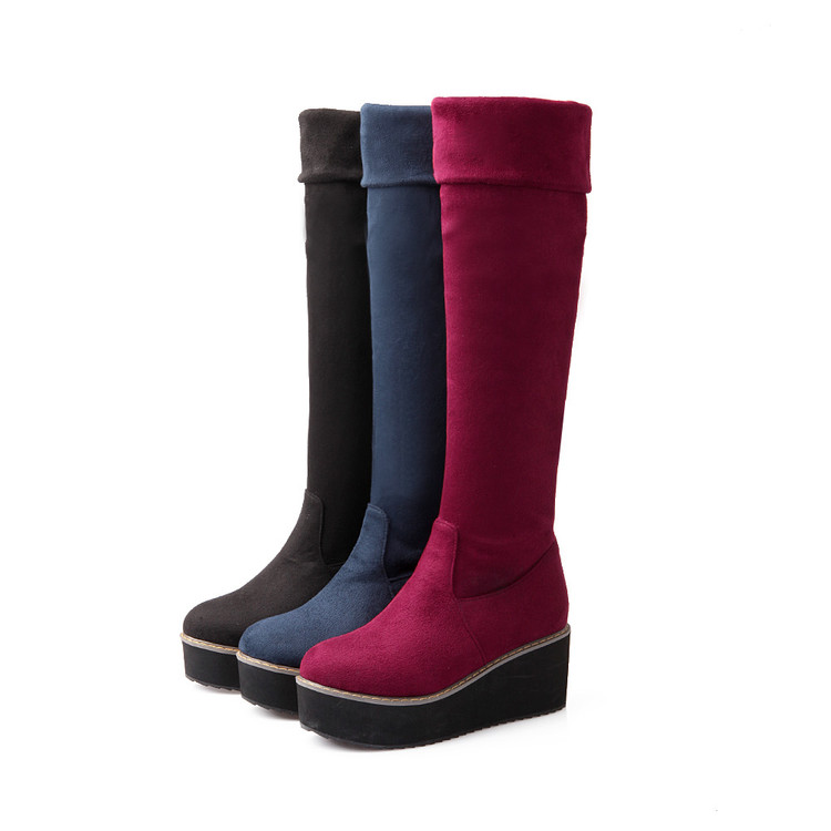 Botas Mujer 2017 Big Size 34-43 Brand Design Patch Color Over The Knee Boots Thick Sole Platform Slim Long Winter Autumn 7352