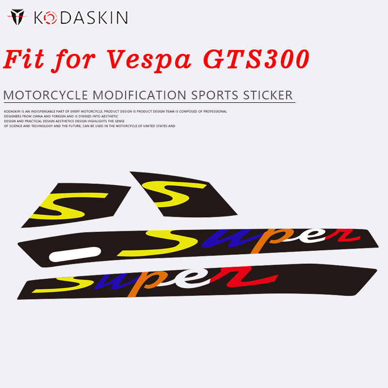 KODASKIN Multicolor 2D Sport  Decal Sticker Emblem Super For Vespa GTS 300 GTS300 With The Two Long Vents In Each Panel