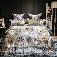 Европейский королевский люкс 100% шелковый атлас жаккардовые постельные принадлежности набор пододеяльников для пуховых одеял постельное б