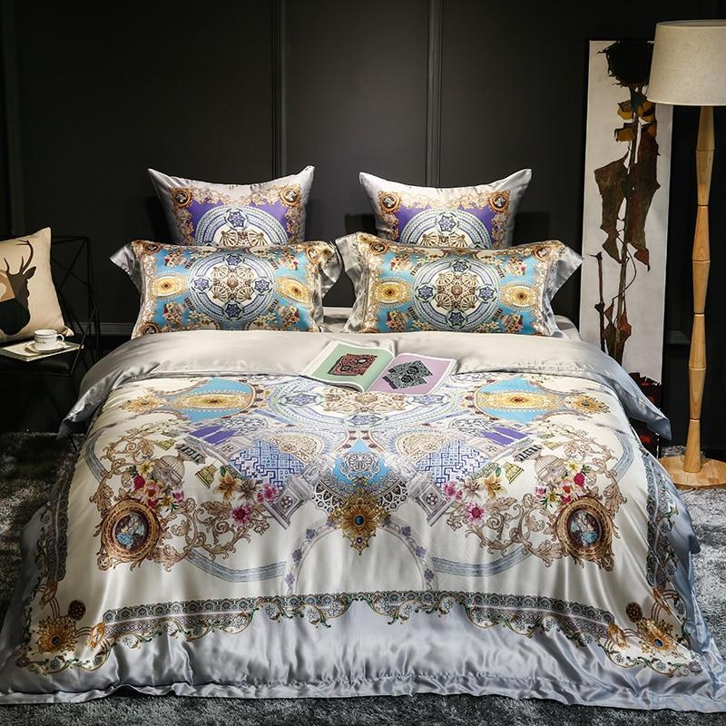 ᗚEuropea lujo real 100% seda de raso jacquard Ropa de cama conjunto ...