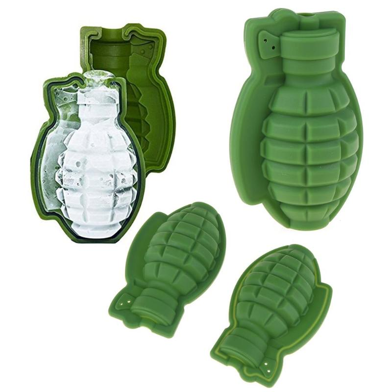 Creative 3D Grenade Shape <font><b>Ice</b></font> Cube Mold Tray <font><b>Ice</b></font> Cream Maker Party Bar Drinks Whiskey Wine <font><b>Ice</b></font> Maker Silicone Bar Accessories image
