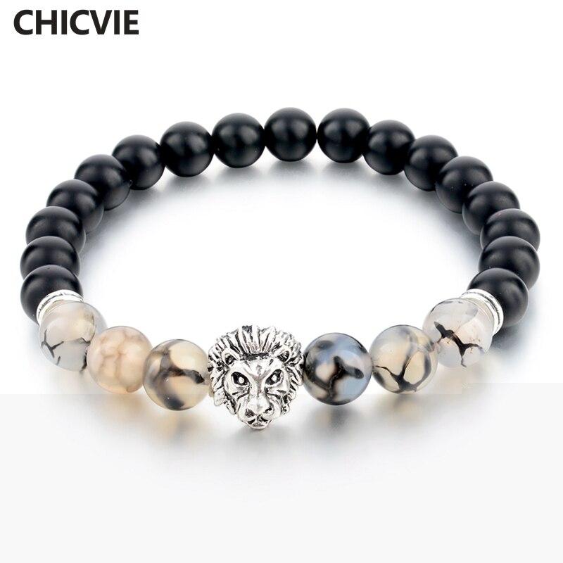 CHICVIE 8mm Natural Stone Beads Strand Bracelets for Women Man Silver Color Lion Head Bracelet Vintage Jewelry BLACK SBR160096