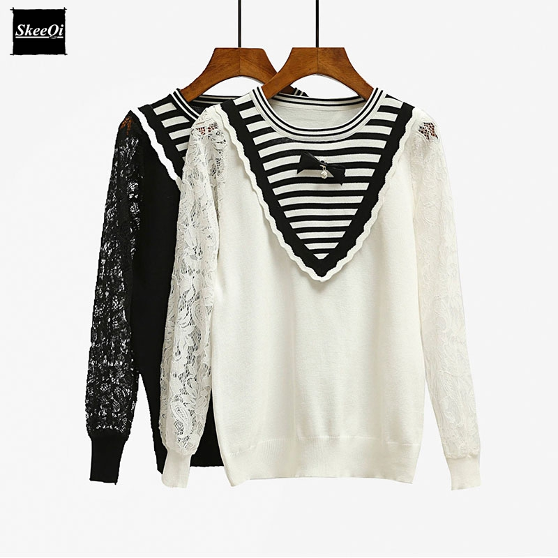 2018 New Luxury Fashion Runway Designer Women Sweater Pullover Sweaters Lace Striped Winter Spring Basic Knitted Tops Jumper