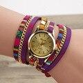 Fashion Ethnic Ladies Leather Bracelet Casual Luxury Quartz Wrist Watch 6 colors Relogio Feminino Dress Watches