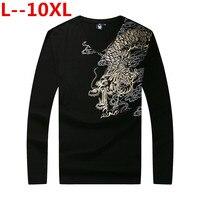 10XL 8XL Novelty 3d t Shirt Men 2018 Autumn Cotton Dragon 3D Printed Long Sleeve T shirt homme Slim Fit Brand Clothing Plus Size