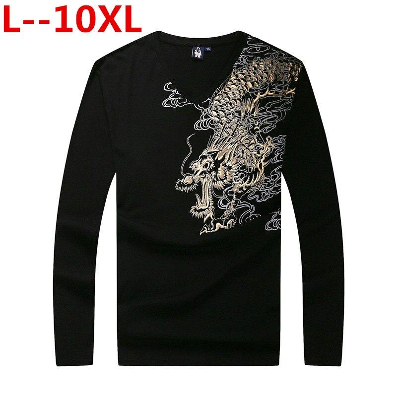 10XL 8XL nouveauté 3d T-shirt hommes 2018 automne coton Dragon 3D imprimé à manches longues T-shirt homme Slim Fit marque vêtements grande taille