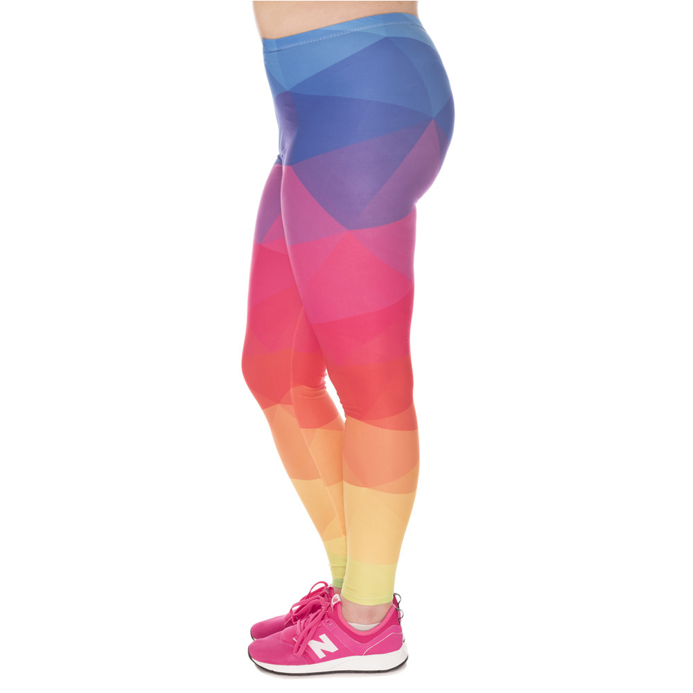 Fashion Large Size Leggings Triangles Rainbow Printed High Waist Leggins Plus Size Trousers Stretch Pants For Plump Women