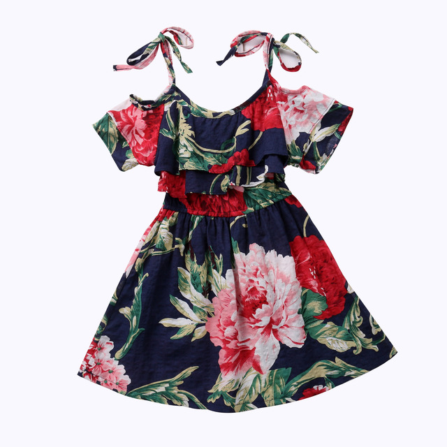 Toddler Baby Girls Print Tunic Dress Cold Shoulder Kids Girl Sundress Summer Princess Kids Ruffle Dresses