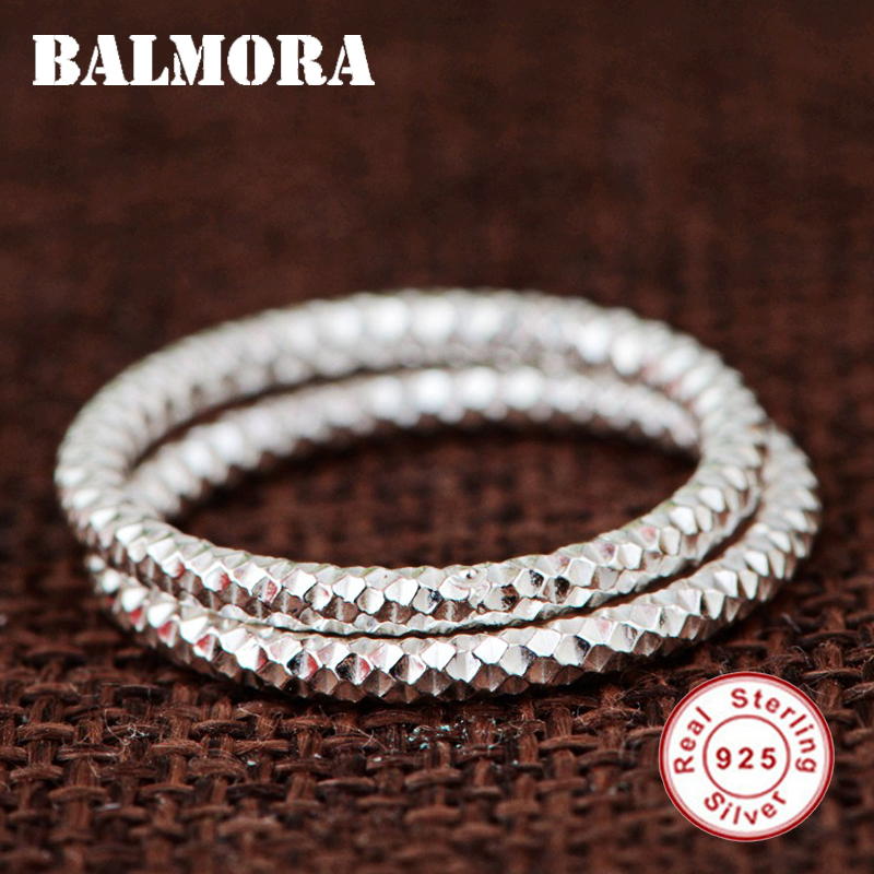 BALMORA 1 Piece 925 Sterling Silver Geometric Stacking Wedding Rings for Women Simple Fashion Modern Jewelry Anillos 2mm Wide