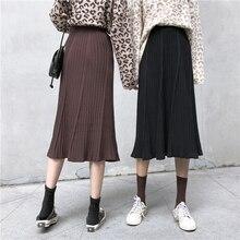 Korean Fashion New Knitted Skirt Elegant High Waist All-match Striped Black Skirt Women Elastic Waist Loose Harajuku Falda Mujer striped print elastic waist skirt