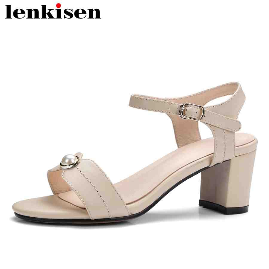 Lenkisen cow leather plus size summer brand shoes solid peep toe high thick heels buckle strap shopping work women sandals L10