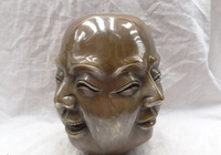wholesale factory 8 China Bronze 4 Face Emotions Feelings Happy Laugh Maitreya Buddha Head Statue