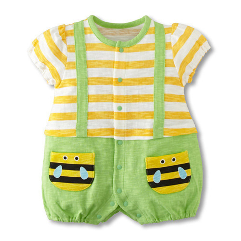 Baby Rompers 2018 Summer Baby Print Short Sleeve Baby The New Jumpers Strap Cotton Baby Girls Boys