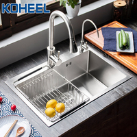 kitchen sink 304 stainless steel bowl Handmade brushed seamless 500*450mm with Drain Basket And Drain Pipe single kitchen sink