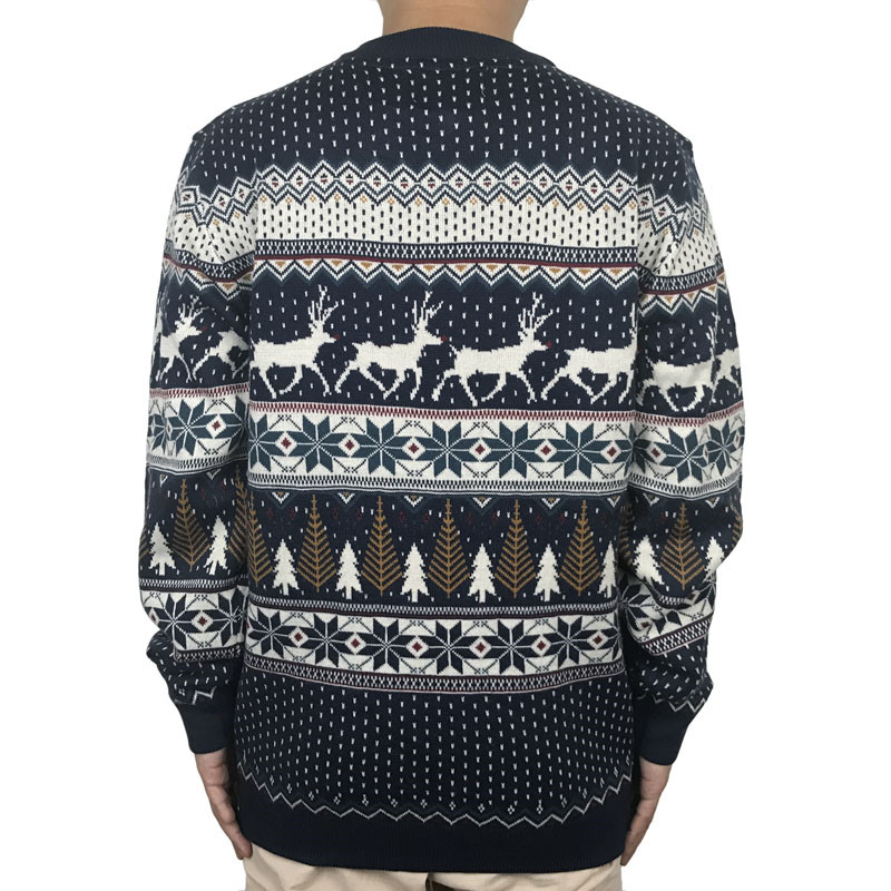 Funny Light Up Ugly Christmas Sweater for Men and Women Navy Blue Male Xmas Pullover Jumper Reindeer Patterned Plus Size S-4XL 1