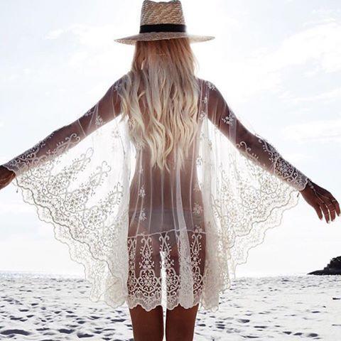 Sexy Lace Beach Dress Long Sleeves Beach Cover Up Women Summer Dress Vintage Bikini Cover Up Beach Dress On Sale
