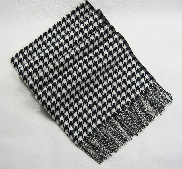Free shipping Cashmere White/Black HoundsTooth plaid Scarf knit scarf ebay hot sale scarf