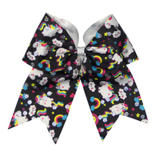 Adogirl 3 pcs 6-7 Shiny Rainbow Unicorns Print Party Hairbands Girls Hair Bows Handmade Boutique Accessories Clips