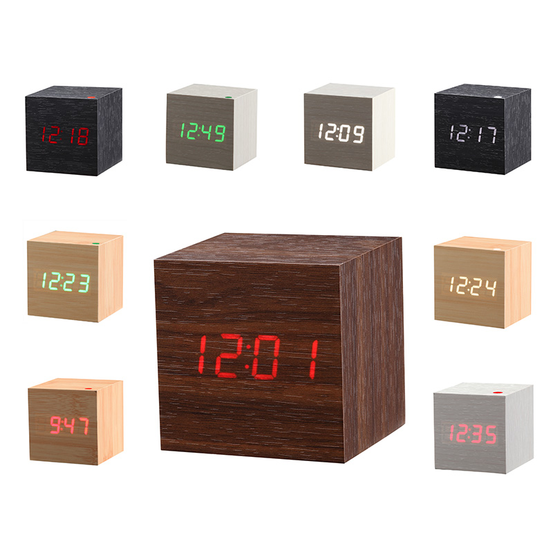 New Modern Wooden Led Clock Square Style Desktop Clock Led Digital Single Face Alarm Clock Voice