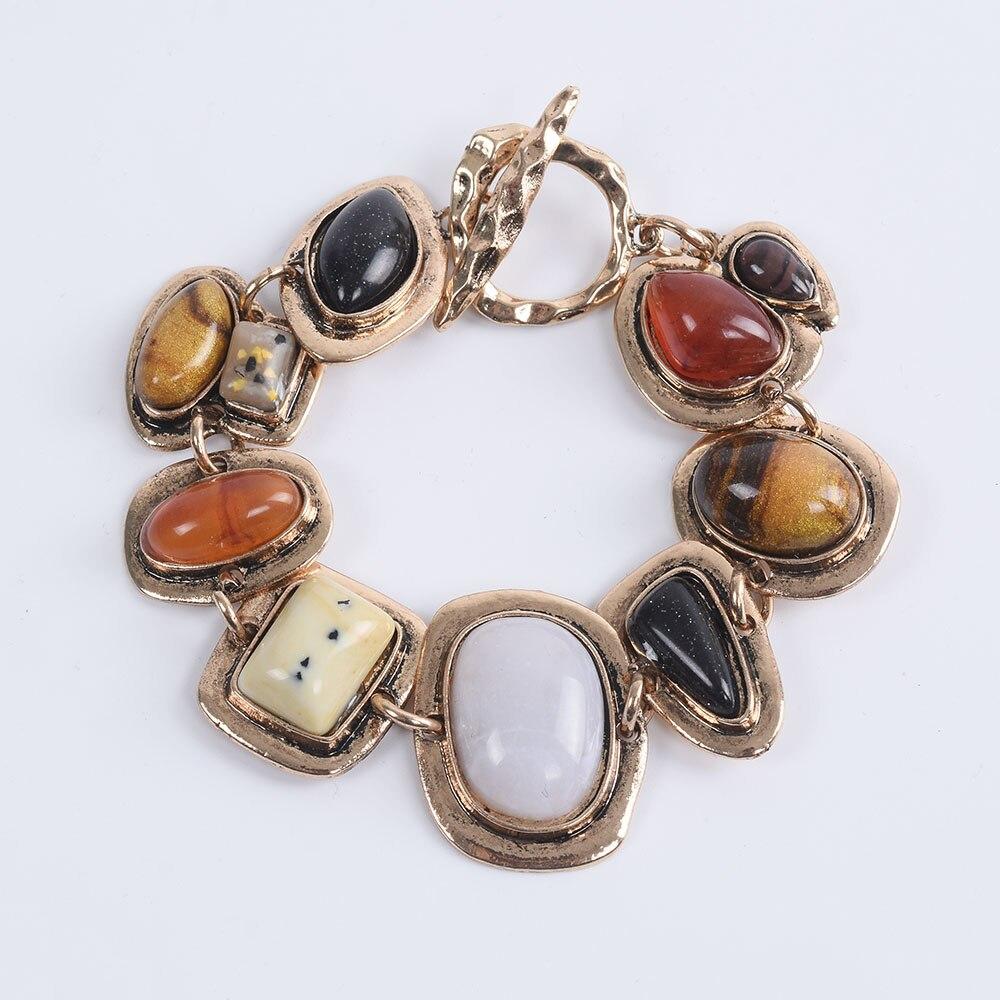 Bohème ethnique Bracelets femmes Za contraste métal creux pierre Bracelets femme Vintage Statment amitié Bracelets pour femme
