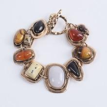 Pulseras étnicas bohemias, pulseras de Metal con contraste Za, pulseras de piedra hueca, pulseras de amistad Vintage para mujeres
