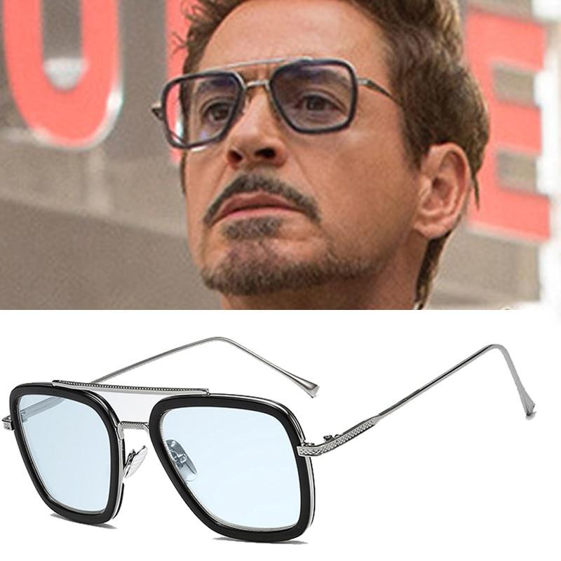 LVVKEE Fashion Avengers Tony Stark Flight Style Sunglasses Men Square Brand Design Sun Glasses Oculos De Sol Retro male spider man far from home glasses