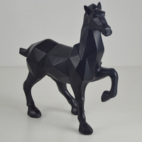 Modern Abstract Black Horse Statue Sculpture Resin Ornaments Home Decoration Accessories For Gift Geometric Animal Statues Craft