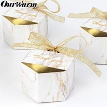 OurWarm 10pcs Marble Candy Boxes Geometric Gift Box Christening Baby Shower Hen Party Favors and Gifts for Guest 8*4*5cm