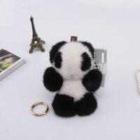 Genuine 12cm mink Fur Keychain fashion Soft Fur panda Key ring bag Pendant gift pendant car accessories key rings toy