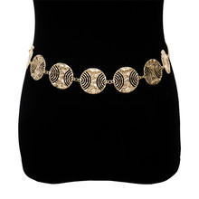 все цены на Vintage Gypsy Hollow out Metal Circle Waist Belt Chain Charm Exaggersted Turkish Carved Coin Belly Body Dance Statement Jewelry онлайн