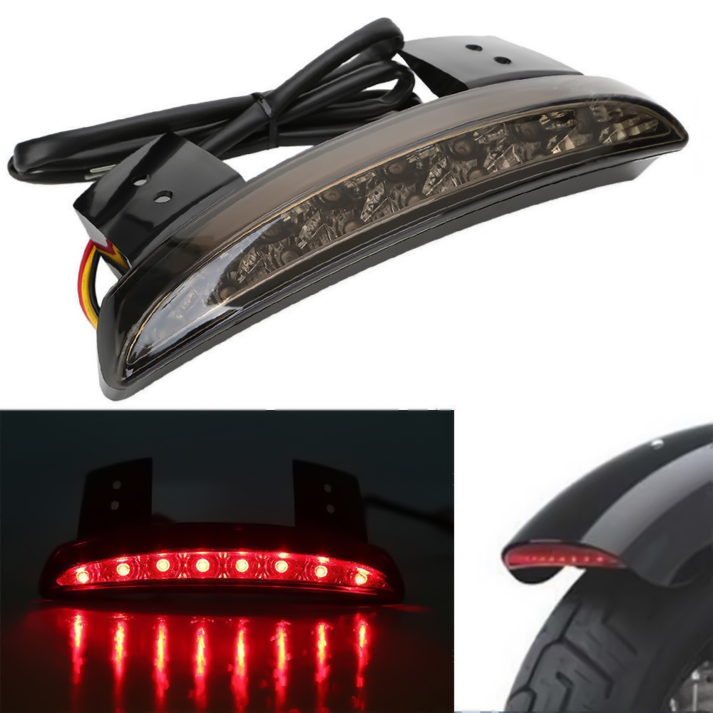 Brand New Gray Chopped Fender Edge LED Tail Light Turn Signals For Harley Davidson Sportster XL 883 possbay motorcycle lightsmoke len rear fender edge led tail light for harley cafe racer davidson iron 883 xl883n xl1200n chopped