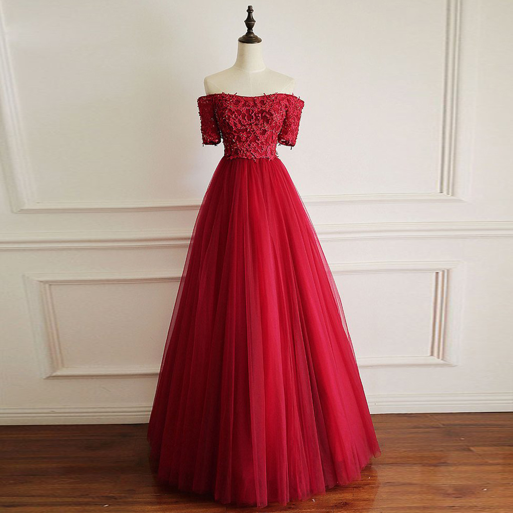 Lovely Red   Prom     Dress   2019 de gala Short Sleeves Beading A Line Party   Dress   abendkleider Appliques Party Gown