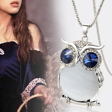 Crystal Charming Bordered Alloy Opal Big Pendant Necklace For Women Choker Lady Girls Owl Pendant Necklaces Long Sweater Chain trendy ancient silver owl pendant sweater chain necklace for women
