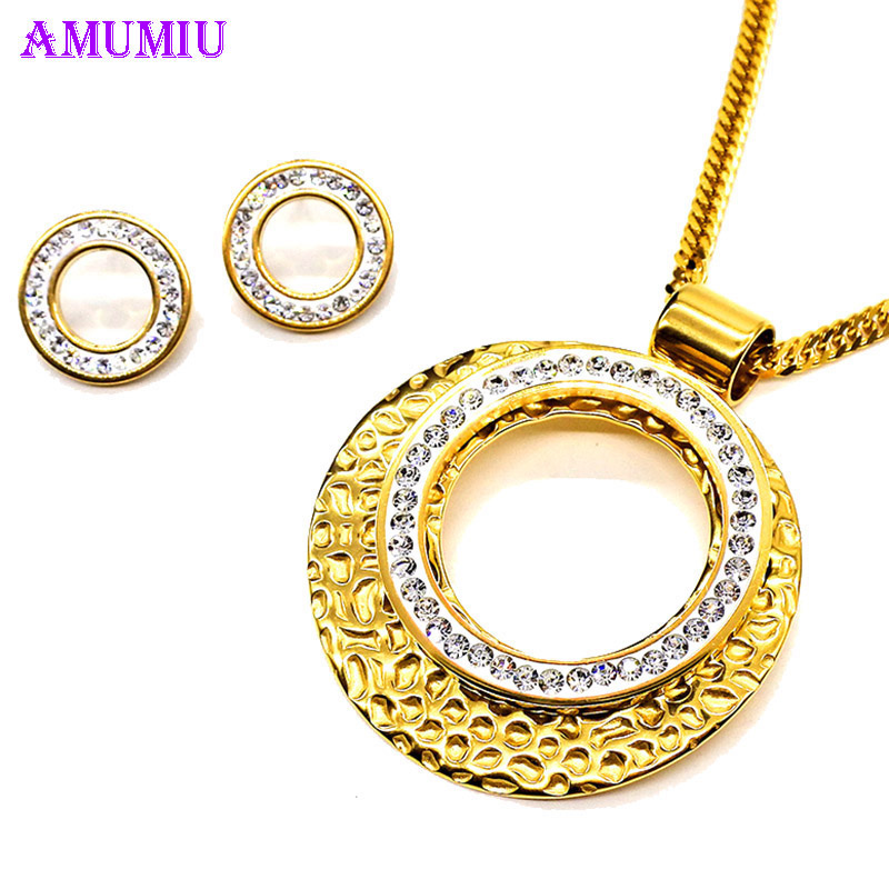 AMUMIU Trendy Jewelry Rhinestone Oval Hollow Round Pendant Gold Color Necklace Earring For Women Wedding Party JS087