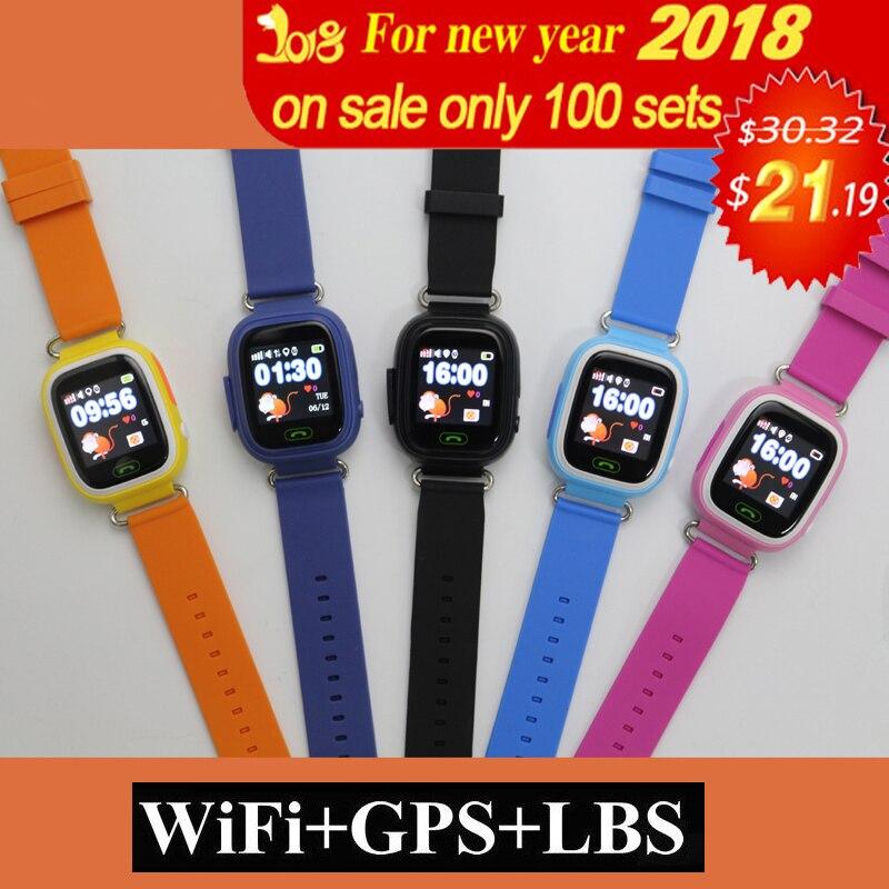 SOS Relógio GPS Q90 WIFI Posicionamento Das Crianças dos miúdos do bebê Inteligente Call Localização Localizador Rastreador Kid Safe Anti Perdido Do Monitor inteligente relógio