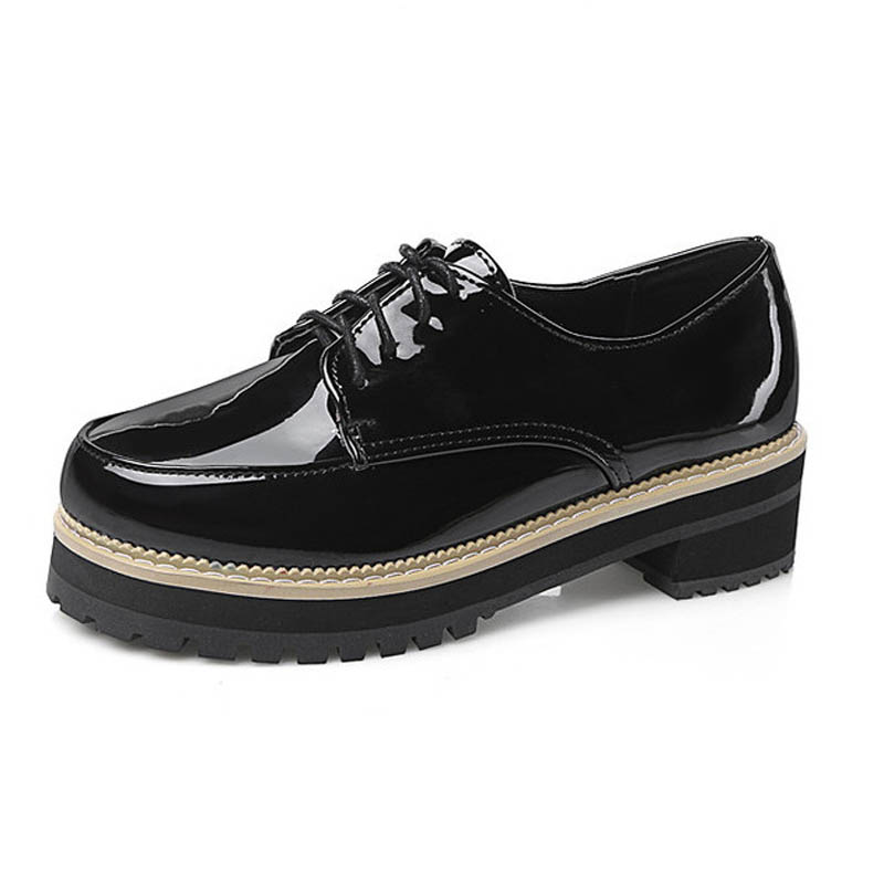 New Patent Women Lace Up Platform Oxfords Fashion Round Toe England Style Oxford Shoes For Women