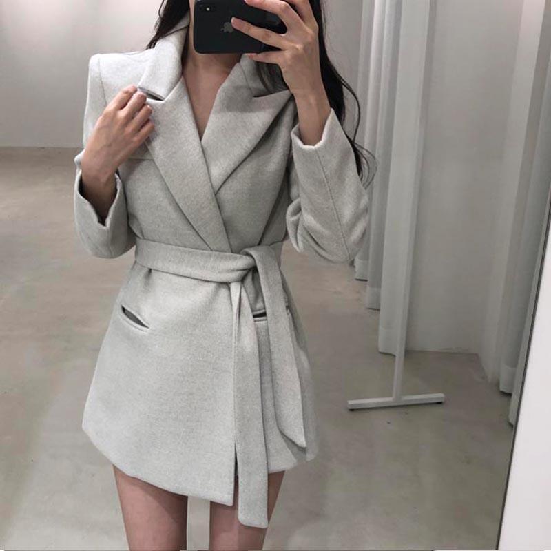 Пиджаки куртка шерстяная Женская Зимняя мода зазубренный воротник с поясом Тонкий маленький костюм