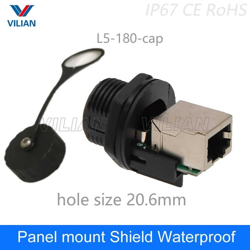 M19 RJ45 Connector Panel Mount adapter Socket Ethernet Interface Network cable Straight head 8P8C