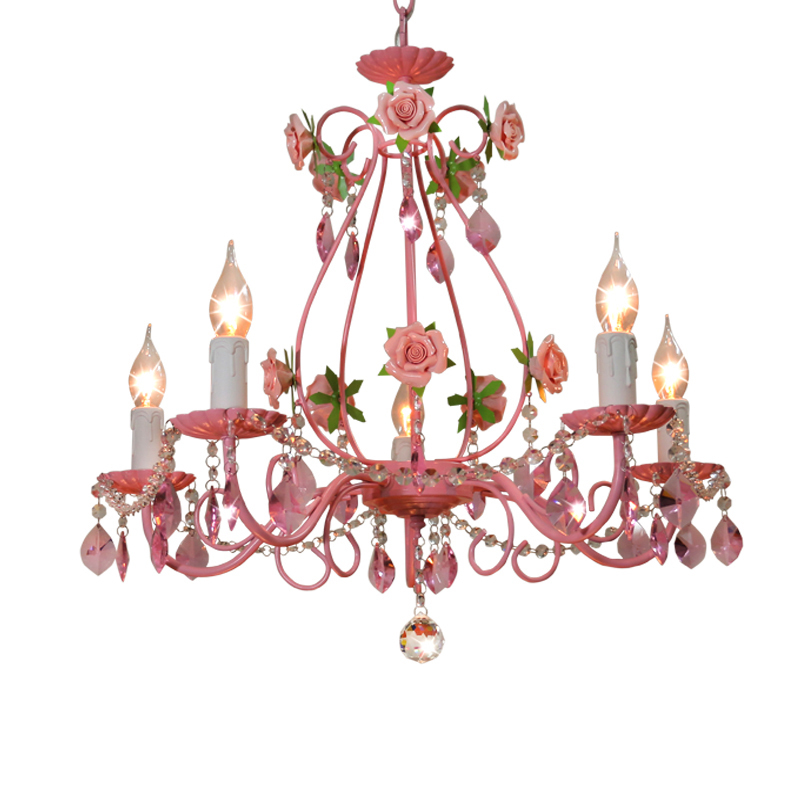 European Pink Flowers Crystal Chandeliers Lighting Fixture E14 Modern Metal Restaurant Bedroom Living Room Hanging Lamp PL620 modern crystal chandelier led hanging lighting european style glass chandeliers light for living dining room restaurant decor