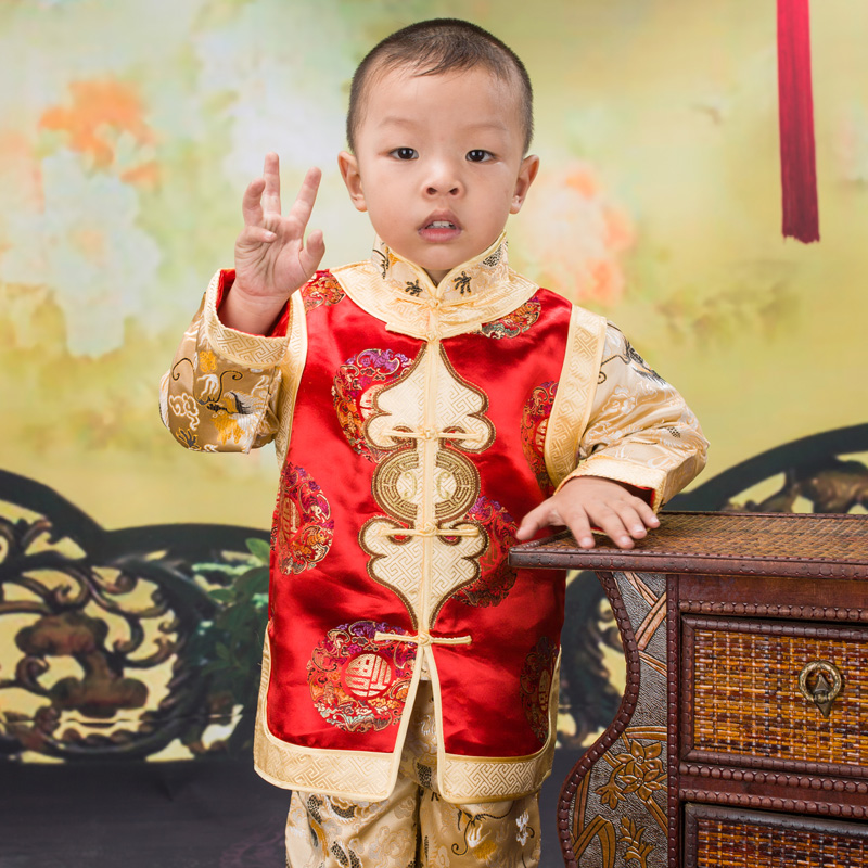 цена на Child Long Sleeve Tang Suit Jacket Chinese Traditional Clothing Dragon pattern Embroidered Kids Boys New Year Clothes Tang Set