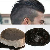 SimBeauty Australian Base (Swiss Lace with PU Silicone around) Custom Mens Toupee Hairpiece Human Hair Replacement Prosthesis