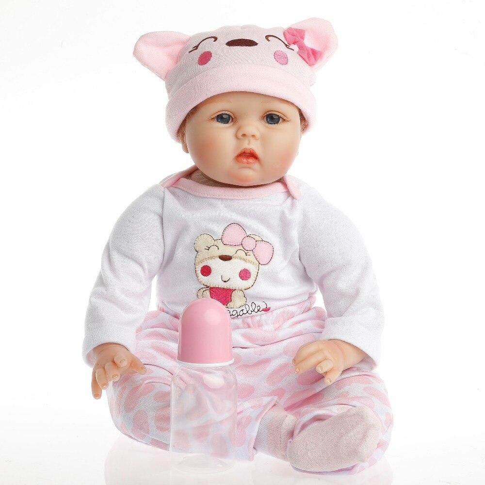 SanyDoll Горячее предложение реборн силиконовая кукла для маленьких детей игрушки магнит соску 22 дюймов 55 см прекрасный розовый Медвежонок кук...